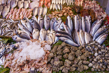 Foto de Closeup of assorted seafood and fish at Fish market in Istanbul, Turkey, selective focus. Food background. Raw fish and seafood. Fresh food. - Imagen libre de derechos