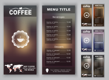Menu design with blurred background (flyers, banners, brochures) for the coffee shop or cafe. Vector illustration. Set.