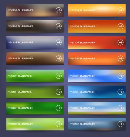 Illustration for Set blurred colored banners for web design. Vector illustration - Royalty Free Image