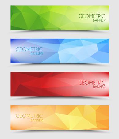 Illustration pour Set of geometric polygonal banner color of green, blue, red and orange - image libre de droit