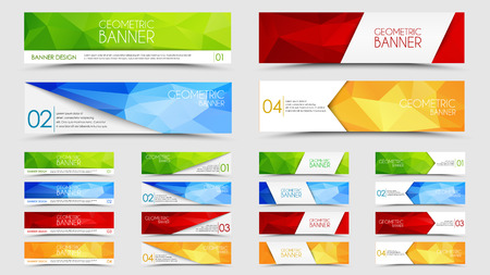 Illustration pour Set of banners with a polygonal geometric background with different design elements and colors (ribbons, arrows, lines) - image libre de droit