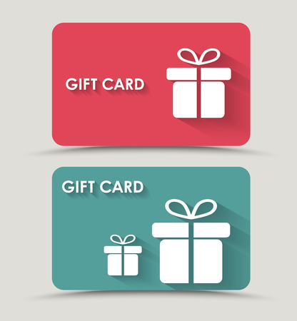 Ilustración de Design gift card with a box in a flat style. Vector illustration. Set - Imagen libre de derechos