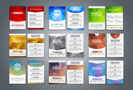 Illustration pour A large set of polygonal brochures (flyers) for advertising, reporting, corporate style. Vector illustration. - image libre de droit
