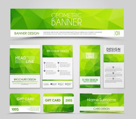 Foto de Design of  brochures and cards with green polygonal elements. Corporate Identity, Advertising printing. illustration. Set - Imagen libre de derechos
