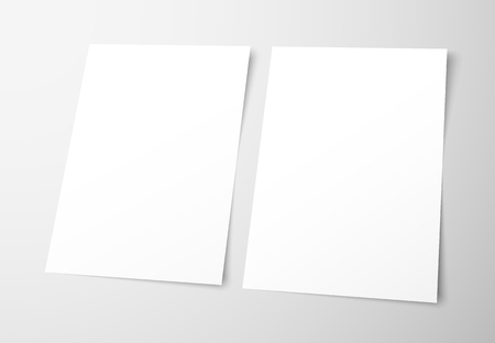 Illustration pour Templates of empty flyers on a gray background. Mockup  frontal and back page brochures for presentation design. Vector illustration - image libre de droit