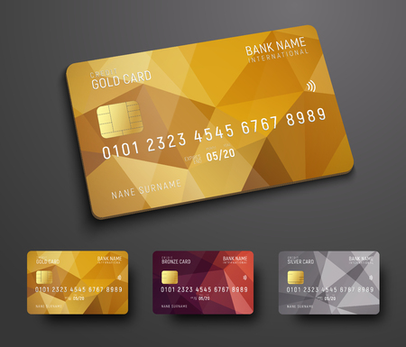 Illustration pour Design of a credit (debit) bank card with a gold, bronze and silver polygonal abstract background. Template for presentation. Vector illustration - image libre de droit