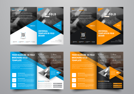 Illustration for Design a bi-fold brochure with triangular colored elements and a place for photos. - Royalty Free Image