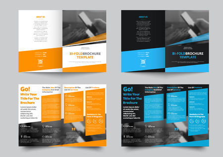 Ilustración de Vector bi-fold brochure for business and advertising. The template is black and white with blue and yellow dice for information. Design for printing and advertising. - Imagen libre de derechos