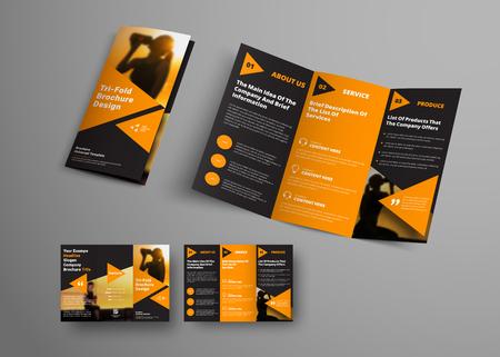 Illustration pour black triple folding brochure template with orange triangular elements. Universal business booklet design with a place for a photo. A sample for sport. - image libre de droit