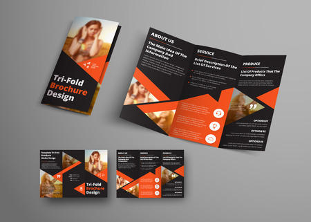 Illustration pour Design of a vector tri-fold brochure with orange triangular elements and place for a photo. Universal business template booklet for advertising and printing. - image libre de droit
