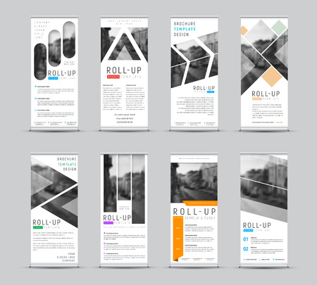 Illustrazione per Vector design of roll-up banners with different geometric shapes for a photo. White templates for business and advertising. Set - Immagini Royalty Free