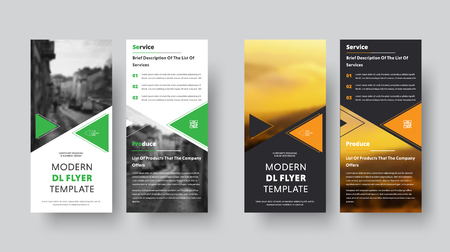 Illustration pour Black and white vector DL flyer design with place for photo. Template with orange and green triangles. - image libre de droit