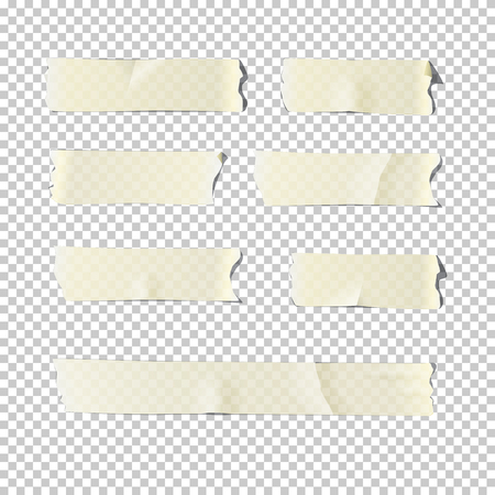 Illustration pour Adhesive tape set isolated on transparent background. Vector realistic illustration. - image libre de droit