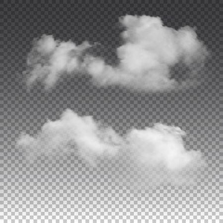 Illustration pour Clouds on transparent background. Vector realistic isolated cloud texture. - image libre de droit
