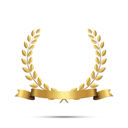 Illustration for Golden laurel wreath with ribbon isolated on white background. Vector design element. - Royalty Free Image