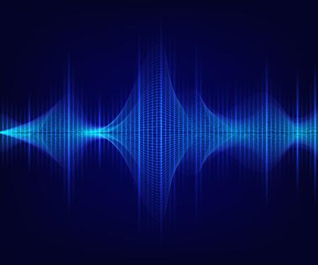 Ilustración de Blue shiny sound wave on dark background. Vector technology illustration. - Imagen libre de derechos