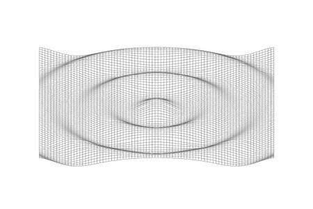 Ilustración de 3D rippled line surface. Vector black rippled wavy background - Imagen libre de derechos