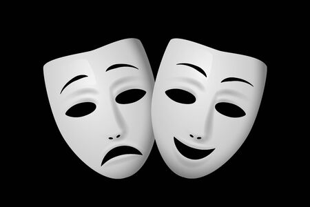 Ilustración de Comedy and Tragedy theatrical mask isolated on black background. Vector illustration. - Imagen libre de derechos