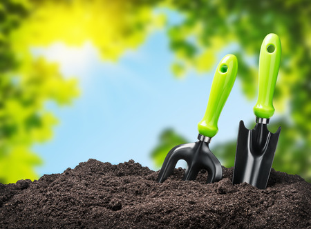 Photo for tools garden soil on nature background. Focus on tools - Royalty Free Image