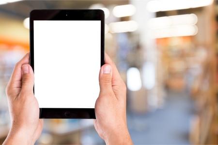 Foto de Digital Tablet, Human Hand, Holding. - Imagen libre de derechos
