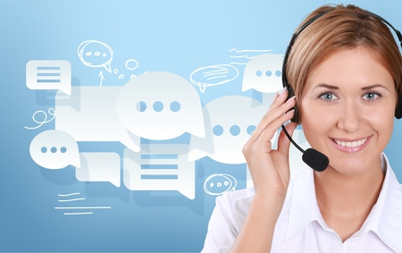 Photo pour Call Center, Customer Service Representative, Service. - image libre de droit