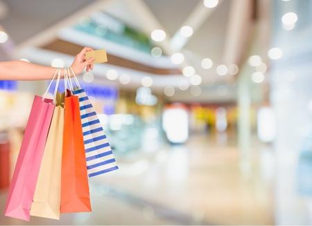 Photo pour Credit Card, Shopping Bag, Shopping. - image libre de droit