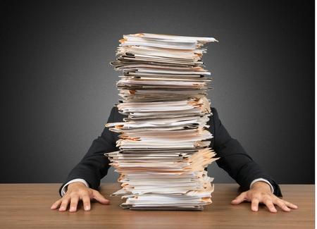 Photo pour Emotional Stress, Paperwork, Frustration. - image libre de droit
