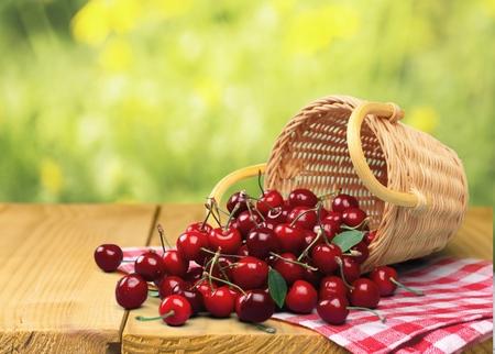 Photo for Cherry, Basket, Fruit. - Royalty Free Image