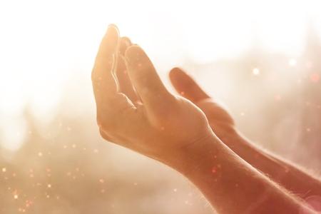Photo pour Human hands open palm up. - image libre de droit