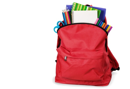 Foto per Red School Backpack on background. - Immagine Royalty Free