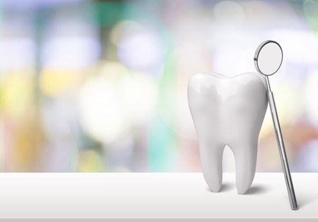 Photo for Big tooth and dentist mirror in dentist clinic on background - Royalty Free Image