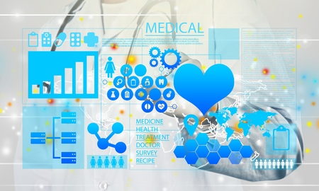 Foto de Innovative Technologies in medicine. Health care innovation information technology integration. Doctor touched icon INNOVATIVE TECHNOLOGIES text on virtual screen. Big Data, Cloud, AI, Microchip. - Imagen libre de derechos