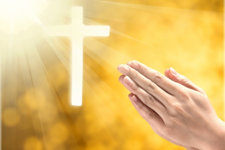 Photo for Human hands open palm up worship. Eucharist Therapy Bless God Helping Repent Catholic Easter Lent Mind Pray. Christian concept background. - Royalty Free Image