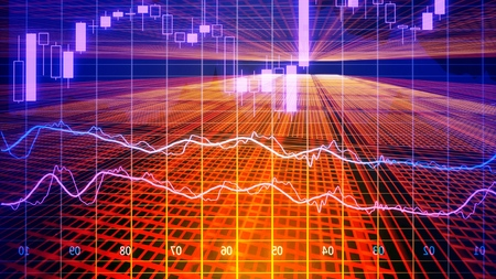 Foto de Data analyzing in forex market trading: the charts and summary info for making trading. Charts of financial instruments for technical analysis. Stock trading market background as concept. - Imagen libre de derechos