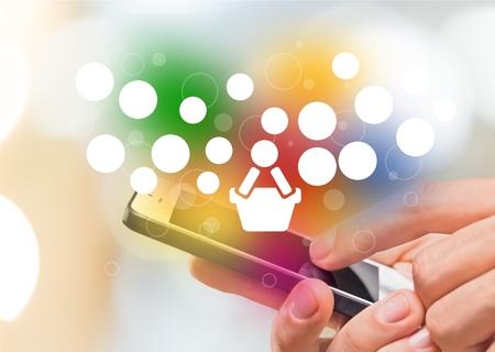 Foto für Colorful application icon concept and the shopping cart - Lizenzfreies Bild