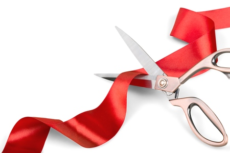 Photo for Scissors Cutting Red Ribbon - Royalty Free Image