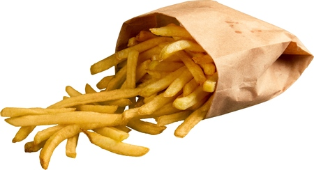Foto per French Fries Falling Out Of Bag - Isolated - Immagine Royalty Free