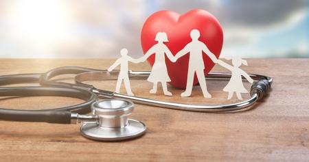 Foto de Family Cut-out  Medical Insurance Concept - Imagen libre de derechos