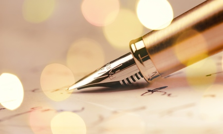 Photo for Parker Fountain Pen and Letter - Close Up - Royalty Free Image