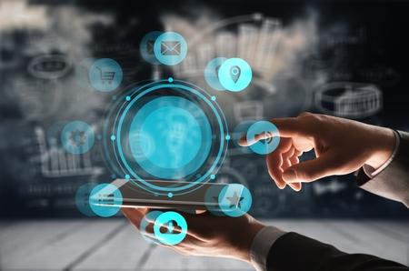 Photo pour Insurance technology (Insurtech) concept, woman looking data information on smartphone. - image libre de droit