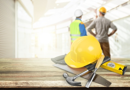 Photo pour Business engineer contractor who contracts to supplies consulting about working their job at construction site office headquarters. - image libre de droit