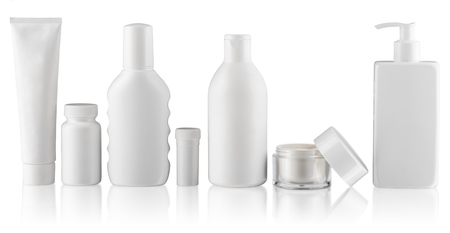 Foto de collection of  various beauty hygiene containers on white background. each one is shot separately - Imagen libre de derechos