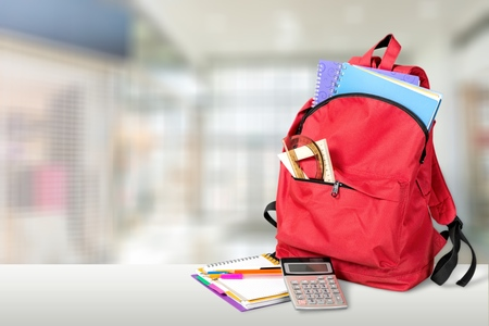 Photo pour Red School Backpack on background - image libre de droit