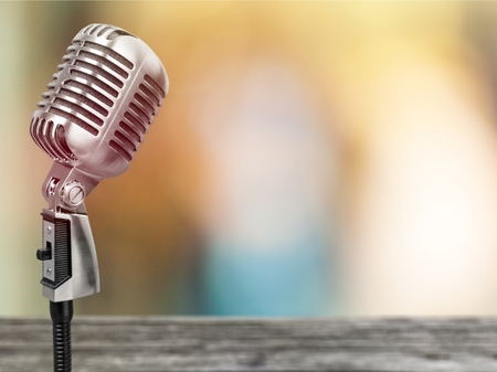 Photo for Microphone on abstract blurred of speech in seminar room or speaking conference hall light, Event Background - Royalty Free Image