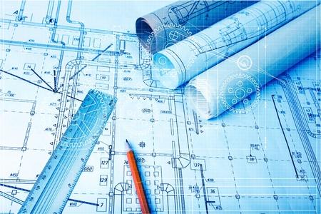 Photo pour architectural drawing paper rolls of a dwelling for construction - image libre de droit