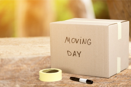 Foto de Cardboard Box labelled moving day - Imagen libre de derechos