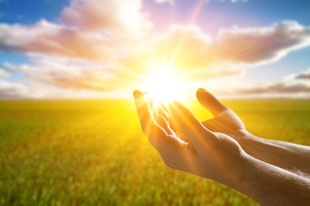 Foto de Human hands open palm up worship - Imagen libre de derechos