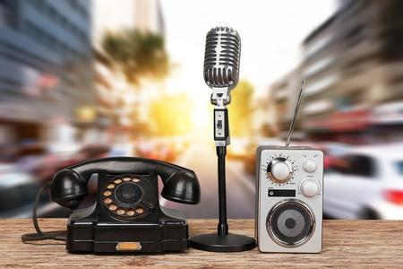 Photo for Retro rotary telephone radio and  headphones - Royalty Free Image
