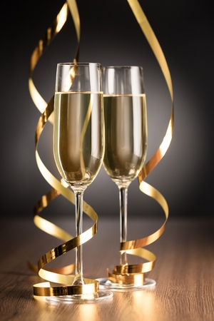 Photo for Champagne Glasses and Streamers - Royalty Free Image