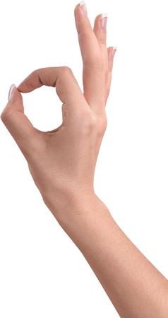 Photo for hand gesture showing ok - Royalty Free Image